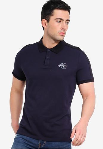 d1e3f1cbb Calvin Klein navy Colour Block Slim Polo Shirt - Calvin Klein Jeans  D4F02AA92DE3D4GS_1