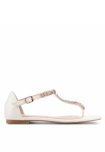 Velvet white Embellished T- bar Strap Sandals 85E84SHB203739GS_1