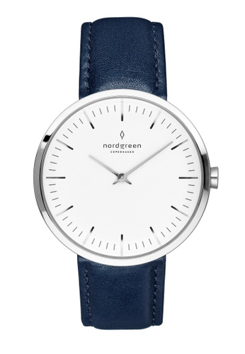 Nordgreen blue and silver Nordgreen Infinity Silver 32 mm - Navy Blue Leather Watch DB664AC1AFFC7CGS_1
