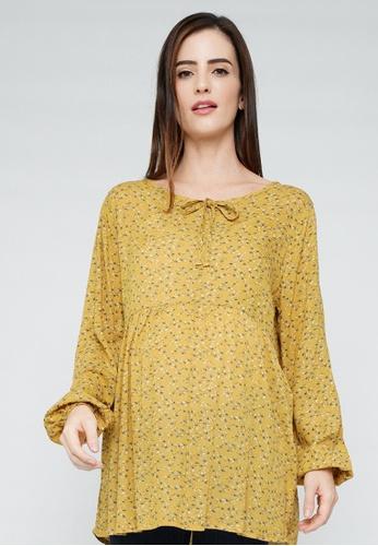 9months Maternity yellow Mustard Drawstring Neckline Nursing Blouse 91A2AAAFEE9BB1GS_1