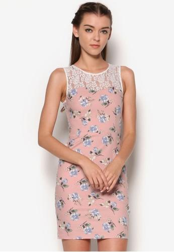 蕾絲拼肩印花直筒連esprit 台北身裙, 服飾, 清新俏皮