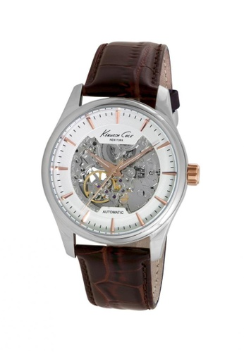 Kenneth Cole brown and silver and gold Kenneth Cole Automatic Silver/Rose Gold/Brown Leather Watch KE854AC04CYTSG_1