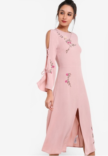TOPSHOP pink Embroidered Tie Sleeve Midi Dress TO412AA99NSYMY_1