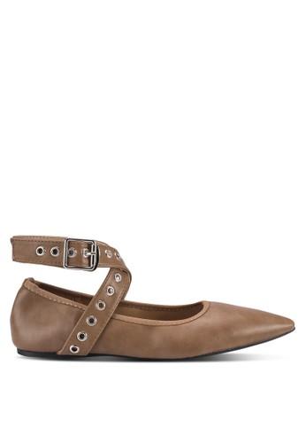 Callesprit 台中ie 金屬孔交叉踝帶尖頭平底鞋, 女鞋, 芭蕾平底鞋