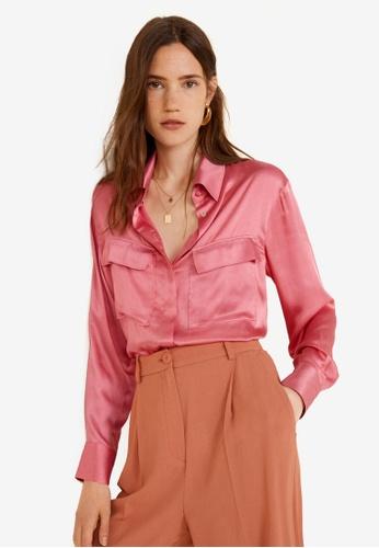 Mango pink Satin Blouse 95CE9AA331F559GS_1