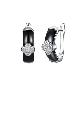 Glamorousky white 925 Sterling Silver Elegant Four-leafed Clover Black Ceramic Stud Earrings with Cubic Zircon E8D9CAC2DE32CFGS_1