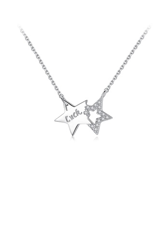 Glamorousky white 925 Sterling Silver Fashion Simple Double Star Necklace with Cubic Zirconia 3DB37AC2F5C742GS_1