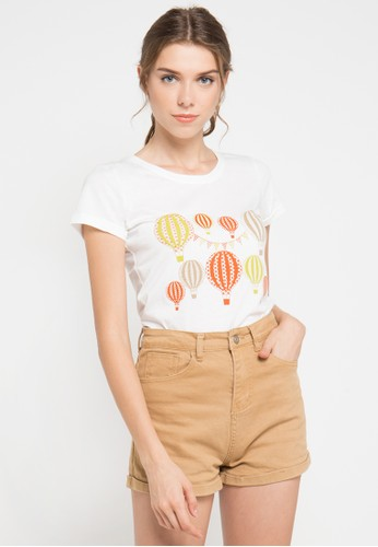 MEIJI-JOY white and multi Print Ballon short sleeve Tshirt ME642AA0VRJVID_1