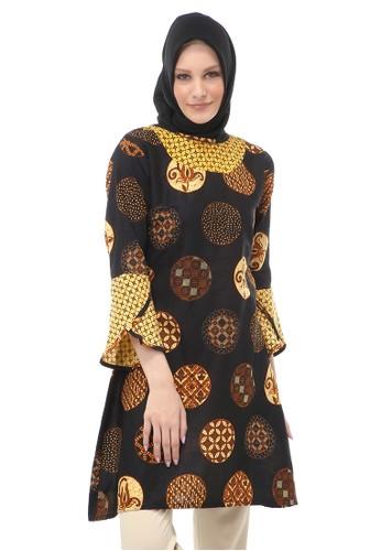 Evernoon brown Tunik Batik Modern Motif Koin Atasan Wanita Muslimah Fashionable - Coklat 233D6AA53ECE3FGS_1