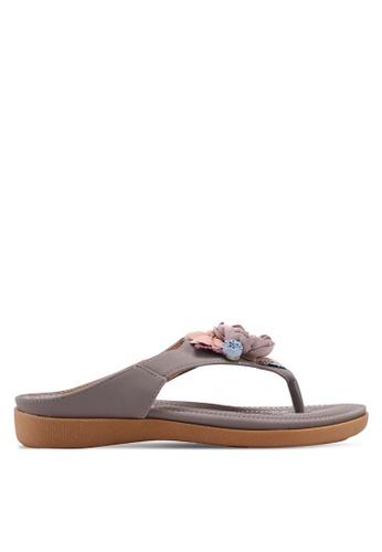 Mimosa 灰色 花卉飾夾腳涼鞋 980ACSH2F58DEFGS_1