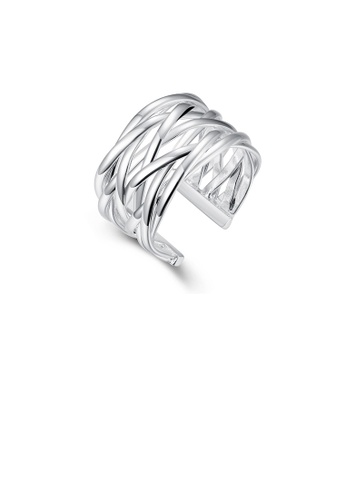 Glamorousky silver Fashion Simple Woven Adjustable Split Ring D58B0AC9255D69GS_1