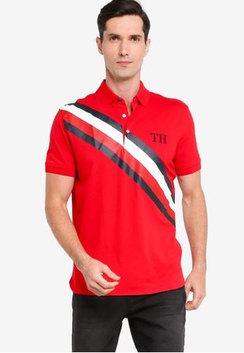 Tommy Hilfiger 紅色 Icon 條紋Regular POLO衫 30580AADD3DB39GS_1