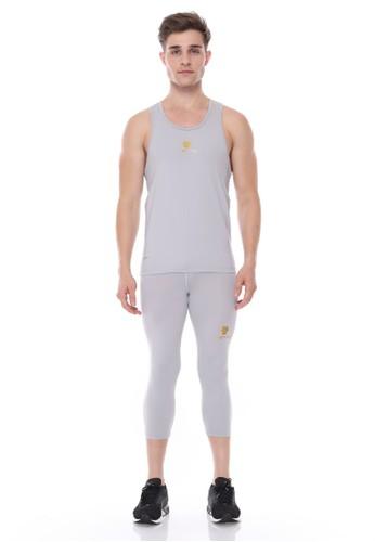 Jual Tiento Tiento Man Basalayer Singlet Grey Olahraga Dan Celana Legging Sport Sebetis Pria 3 4 Pants Grey 1 Stel Original Zalora Indonesia
