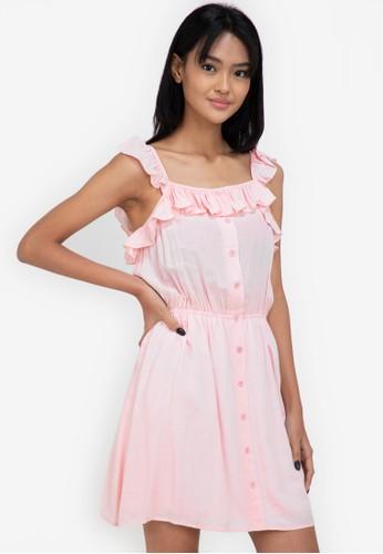 ZALORA BASICS pink Ruffle Detail Mini Dress E9F22AA2EB6658GS_1