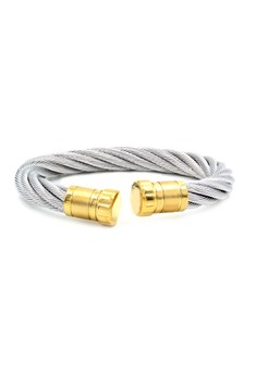 Venice Dion Thick Silver Cable Wire End Cuff Bracelet