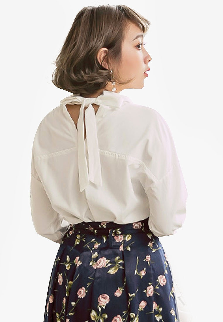 Eyescream White Sleeve Blouse Long Bow Back AOwpXqrPAW