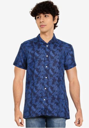 Springfield blue Linen Bowling Shirt B2BB6AA3F3D7CFGS_1
