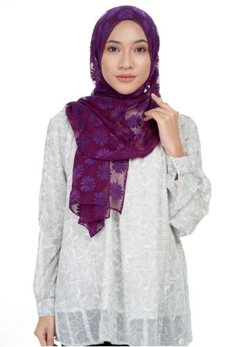 KASHKHA purple Chiffon daisy with rhinestones shawl-DK.PURP ABE93AA4B34B85GS_1