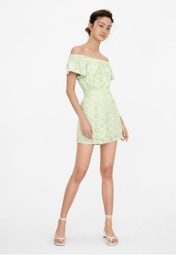 Pomelo green Elastic Waist Eyelet Shorts - Green 3FD60AA9175CC6GS_1