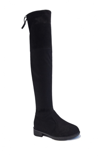 Twenty Eight Shoes 黑色 VANSA 矮跟過膝靴 VSW-B888 28135SHCC4E822GS_1