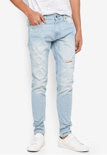 Hollister 藍色 Super Skinny Destroyed Jeans F7B68AAC79987CGS_1
