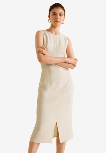Mango white Knot Textured Dress 0D1F3AAC00EC60GS_1