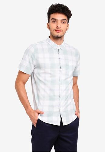 Burton Menswear London green Mint Short Sleeve Twist Checkered Shirt 6C5A3AA9EA406BGS_1
