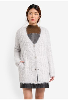 Image of Button Down Longline Knit Cardigan
