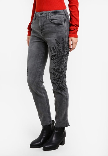 Free People grey Embroidered Girlfriend Jeans B277EAA0A3D6C3GS_1