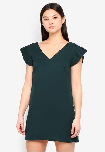 Something Borrowed green Pleated Babydoll Dress 7A9FBAA2A7352CGS_1