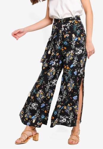 ZALORA 黑色 and 多色 Side Slit Pants D4923AA8CB0F07GS_1