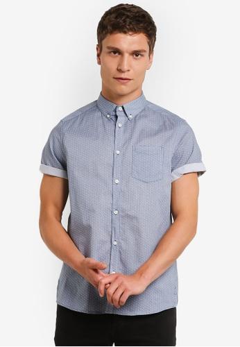 Burton Menswear London blue Short Sleeve Blue Square Print Shirt BU964AA0RM6PMY_1