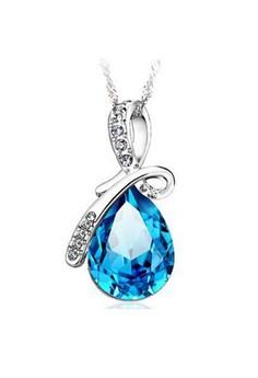 Crystal Angel Water Drop Teardop Shaped Necklace by ZUMQA