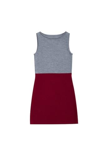 KLAPS grey Two-tone Dress 1DEB3AA1AA3568GS_1