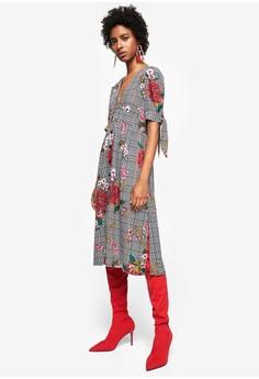 Mango  Check Floral Dress