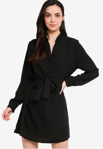 ZALORA WORK black Belted Mandarin Collar Dress 96B0BAA50F33FAGS_1