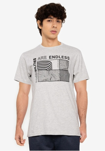 !Solid grey Graphic T-Shirt 11EB1AAD13A61AGS_1