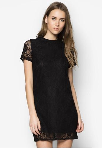 蕾絲鉤花短袖洋裝,zalora 包包評價 服飾, 派對洋裝