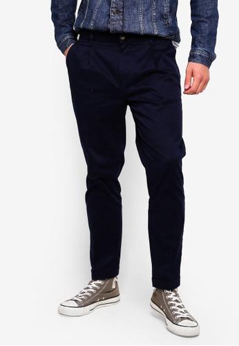 United Colors of Benetton 藍色 斜口袋素色八分褲 46857AA4AC454FGS_1
