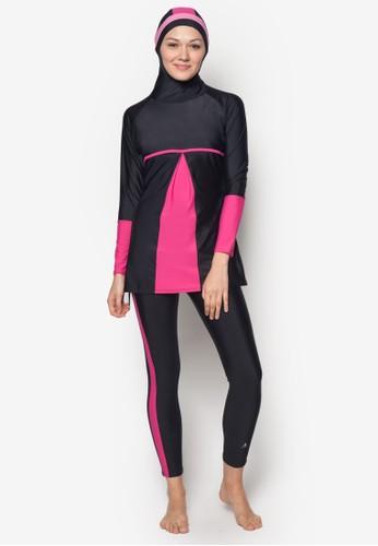 拼色兩件式游泳套裝, zalora 男鞋 評價服飾, 泳裝及海灘裝