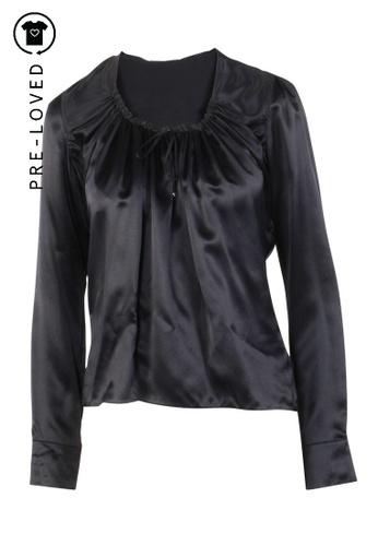 Emporio Armani black Pre-Loved emporio armani Black Long Sleeves Silk Top 1BDA5AA1EA3723GS_1