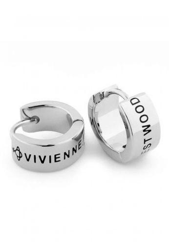 Vivienne Westwood black and grey and silver Vivienne Westwood Kentish Hoop Earrings 8C97AACE84C245GS_1