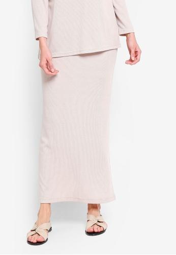 Zalia beige Long Rib Skirt A7C39AA9F7FFE5GS_1