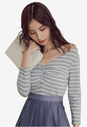 Kodz grey Striped V-Neck Top 4D5F2AAD63EB8FGS_1