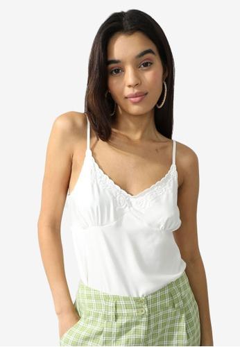 PIMKIE 白色 刺繡V領上衣 A5E8FAA075B212GS_1