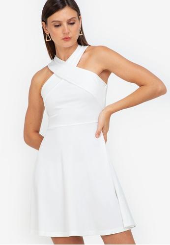 ZALORA WORK white Cross Front Fit & Flare Dress 7CA5BAA5E1C8C1GS_1