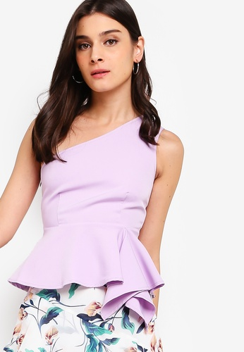ZALORA purple Assymmetric Top 512EDAACD499EEGS_1