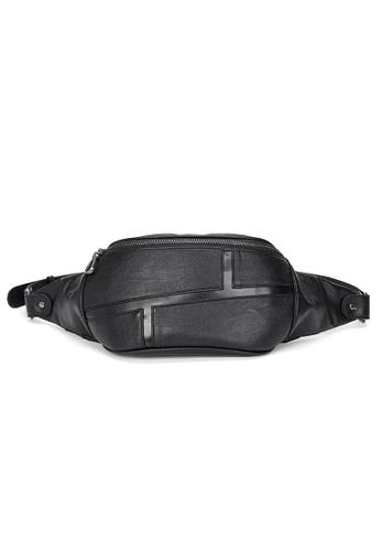 Lara 黑色 男士時尚皮革胸包單肩包 - 黑色 83843AC9BEAB3FGS_1