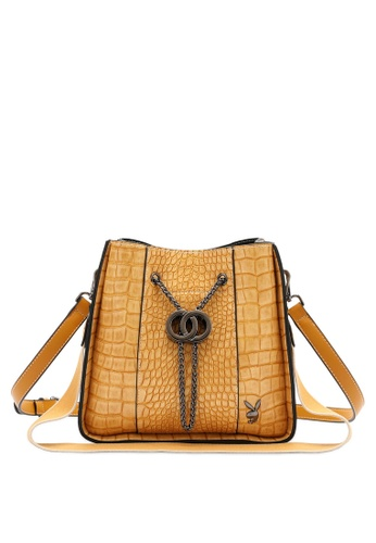PLAYBOY BUNNY yellow Croc Effect Slouch Sling Bag 9E4AAAC09D3916GS_1