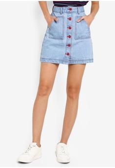 6d67a6cf2465 Something Borrowed blue Contrast Stitching Denim Skirt 06151AA45D339BGS_1